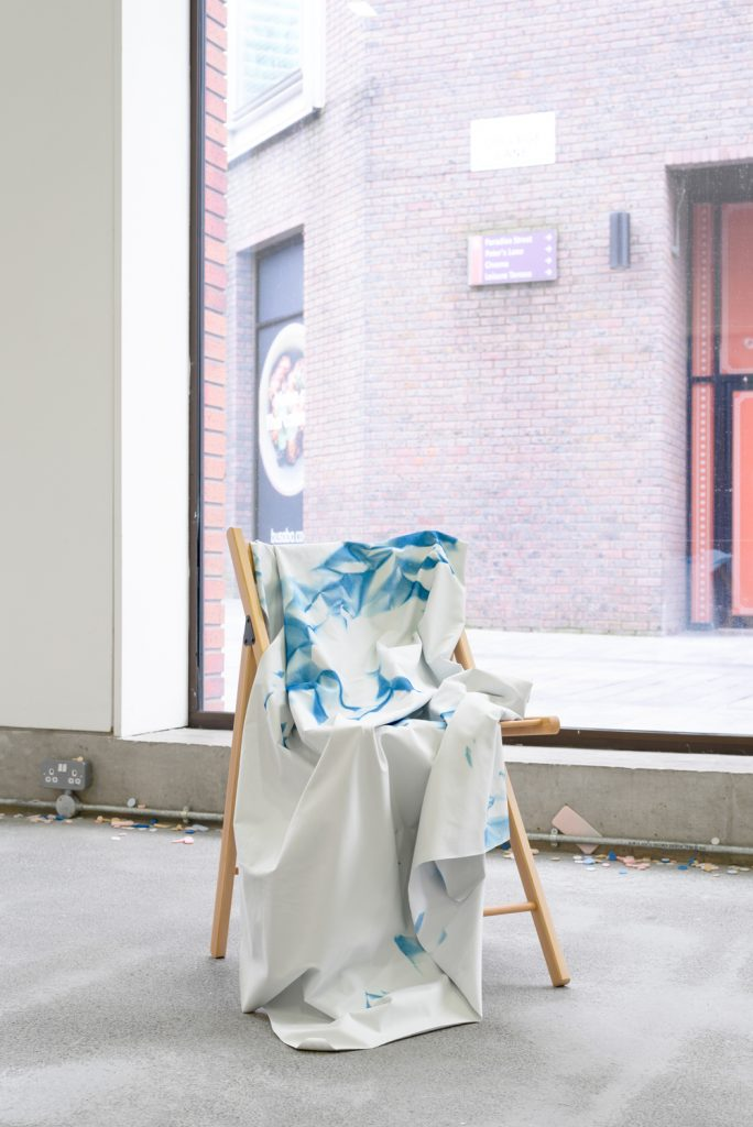 From outstretched wrists, 2016 Cyanotype on blackout fabric, folding chair 83 x 41 x 53cm Rowena Harris