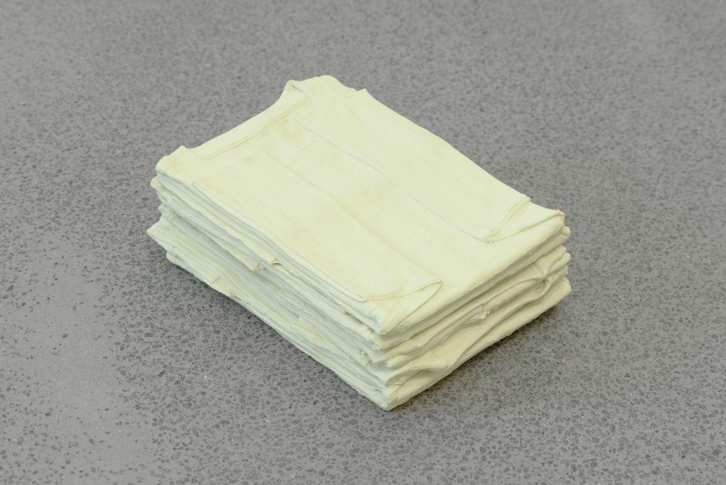 Accreted Part 1, 2013 (re-configured 2016), , T-shirts, emulsion paint Dimensions variable (each t-shirt approx 21 x 30cm) Rowena Harris